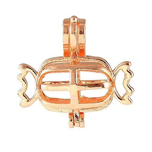 Niaofeces Diffusor-Halskette Parfüm-Halskette Candy Rose Gold Silber Kupfer Perle Käfig Medaillons Anhänger Für Frauen Machen Halskette Ätherisches Öl Diffusor Schmuck