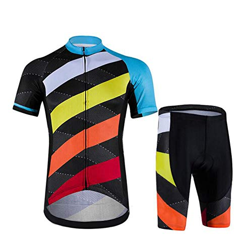 Ciclismo Maillot Hombres Jersey Pantalones Cortos Mangas Cortas 3 Bolsillos Traseros Transpirable para Deportes al Aire Libre Ciclo Bicicleta,XL