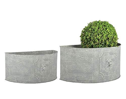 linoows Retro Blumenkübel Set mit Löwenköpfen, Pflanzen Kübel Set Halbrund