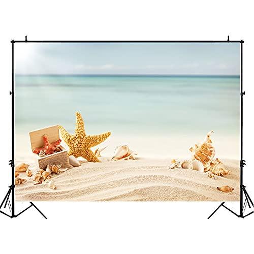Fondos de fotografía de Verano Junto al mar decoración de RV niños Accesorios de Fotos de cumpleaños Playa de Arena Fondo de Fotos de Estrellas de mar A2 10x10ft / 3x3m