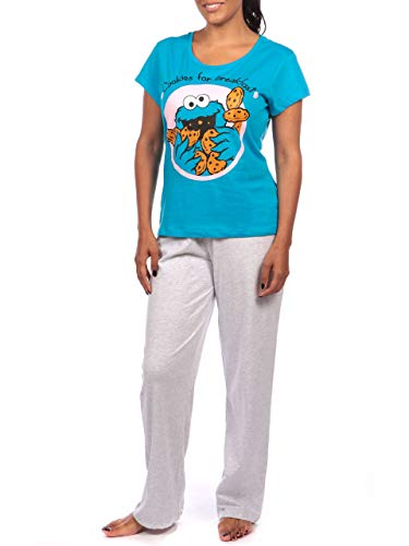 Sesame Street Damen Krümelmonster Schlafanzuge Blau Medium