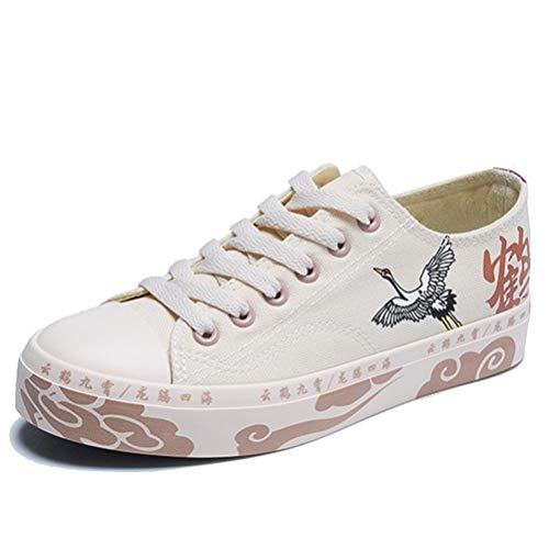 Zapatos Planos de Lona para Mujer Sencillos y Transpirables Zapatillas Ligeras Antideslizantes para Exteriores Zapatos con Cordones Zapatillas de Deporte de Fondo Suave para Exteriores