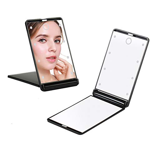 Travel Mirror, Portable LED Lighted Makeup Mirror with 8 Dimmable Led Lights, Touch Switch Travel Makeup Mirror, Folding Compact Mirror 1X & 2X Magnification
