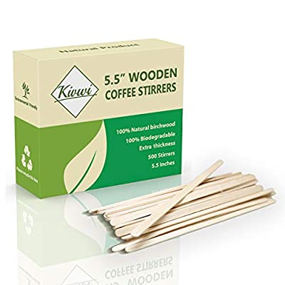 "Coffee Stirrers Sticks, Natural Birch Wood 500 Count, 5.5"", BPA Free Eco-Friendly Beverage Stirrers"