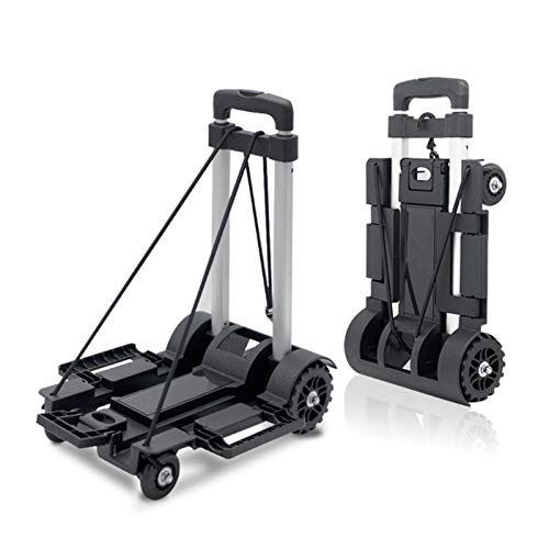 YINQIU Black Folding Luggage Cart Light Aluminum Collapsible Portable Fold Up Dolly Hand Truck For Travel Moving And Office Use (Color : Grey)