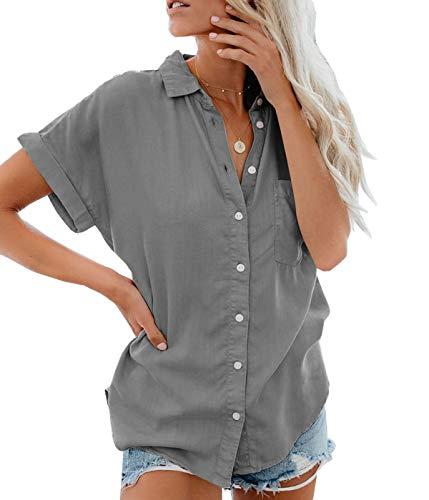 Lantch Damen Bluse Shirt Sommer Hemdbluse Kurzarm Hemd Tops Frauen Oberteile T-Shirt(ga,m)