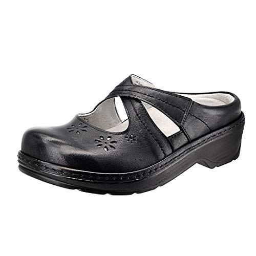 Women#039s Mary Jane Clogs and Mules Leather Shoes with Arch Support Black Floral Size 75 M US