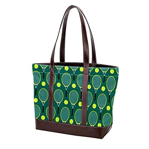 NaiiaN Bolso de compras con correa de peso ligero, bolsos para madres, mujeres, niñas, señoras, estudiantes, raquetas de tenis, bolso de mano con patrón, bolsos de hombro