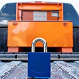 PACLOCK's Job-Box-Lock Series Padlock, Buy American Act Compliant, Blue Anodized Aluminum, High Security 6-Pin Cylinder, One Lock Keyed to #26541 w/ 2 Keys, Hardened Stainless Shackle