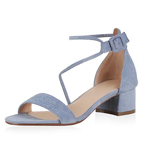 SCARPE VITA Damen Klassische Sandaletten Riemchensandaletten Schnallen Blockabsatz Schuhe Wildleder-Optik Absatzschuhe 194108 Hellblau 37