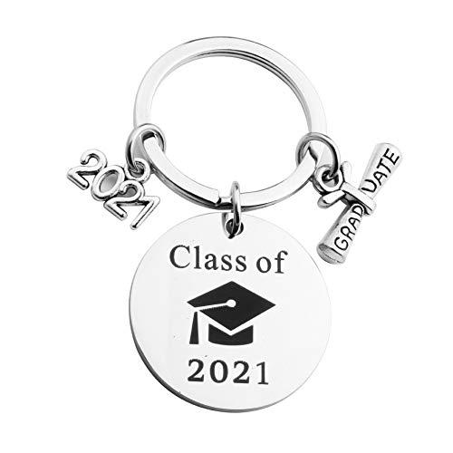 SHINsuke 2021 regalo de graduación llavero clase de 2021 recuerdo felicitaciones grado acero inoxidable accesorios para graduados
