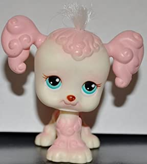 Poodle #255 (Pink, Real Hair, Aqua Eyes) Littlest Pet Shop 2004 (Retired) Collector Toy - LPS Collectible Replacement Single Figure Loose (OOP Out of Package)