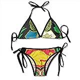 Mujeres Peru Flag Two Pieces Women Tie Knot Bikini Set de dos piezas, traje de baño triangular acolchado para damas