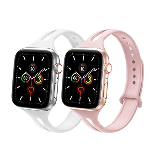 YAXIN Silicone Sport Band Compatible with Apple Watch 38mm 40mm, Breathable Soft Silicone Sport Strap Narrow Replacement Wristband for iWatch Serie 5/4/3/2/1 (2-Pink Sand/White)