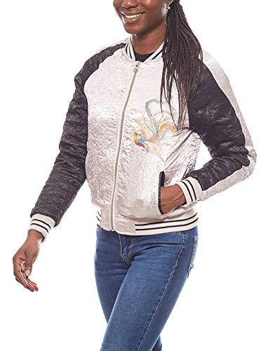 Aniston Damen Satin-College-Jacke Blouson im Asia-Stil Bomberjacke Jacke Rosa, Größenauswahl:38