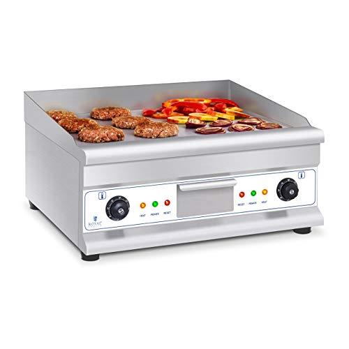 Royal Catering Fry Top Eléctrico Plancha Grill Cocina Parrilla Electrica Industrial RCG 60H2 (largo: 60 cm, 2 x 3.200 W, superficie de calentamiento: lisa,2 zonas de calentamiento)