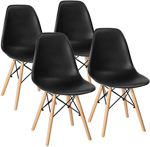 Modern Mid-Century Side Chair, Plastic Dining Chair, Kitchen Chairs Set of 4 (Black)
