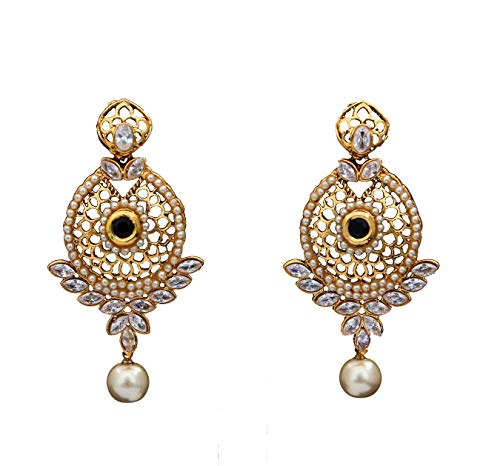 JewelryGift Beautiful Dangle and Drop Earrings Gold Plated Black Onyx, Crystal Rich Designer Fashion Jewellery for Women and Girls MPE 2-BLACK