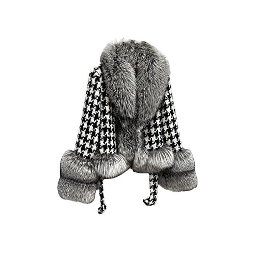 Abrigo de celosía corto de piel de zorro plateado Chaqueta de lana para mujer Abrigo de manga larga con cuello en V de piel real Ropa de invierno para mujer - Zorro plateado, Busto XL 108cm