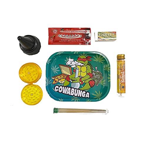 Kit - Bandeja de liar - Grinder para especias - Papel de liar - Cenicero - Cono - Portapetas - Pack Premium