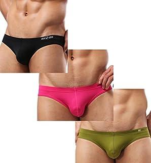 Brave Person 3 Pack Men's Bikini Sleek hipster fit Color Black& Pink&Pea Green