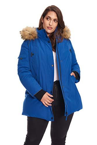Alpine North Women's Plus Vegan Size Down Mid Length Parka Jacket with Faux Fur Hood, Cobalt, 3X