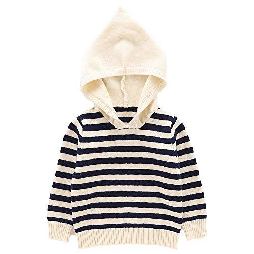 Moonnut Baby Boys Girls Striped Pullover Hoodie Unisex Baby Hooded Sweater Casual Sweatshirt Tops (4T, Navy&White)