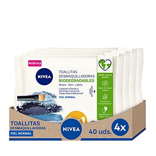 NIVEA Toallitas Desmaquilladoras Biodegradables Refrescantes (4 x 40 ud), toallitas desmaquillantes para piel normal y mixta, toallitas húmedas para rostro, ojos y cuello