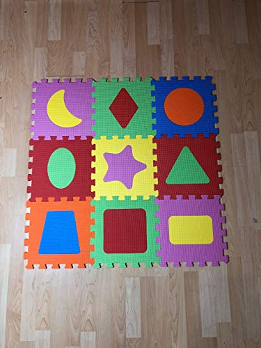 Alfombra goma puzzle rompecabeza para habitación de juego de bebe protectora de suelos para niños 9 piezas de 31cm de espuma entrelazables multicolor Unisex Eva -para niño niña de figuras geometricas