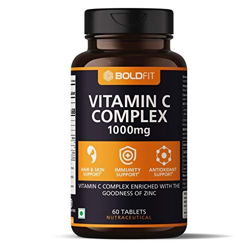 Boldfit Vitamin C Complex With Amla & zinc, Immunity Antioxidant & Skincare Booster For Men & Women - 60 Veg Tablets
