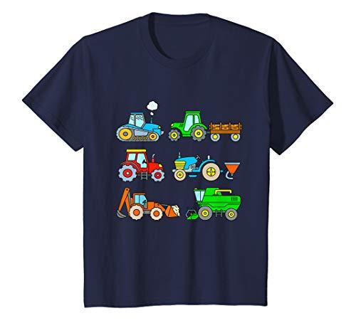 Kinder Shirt mit 6 Traktoren Landmaschinen Mähdrescher Jungen