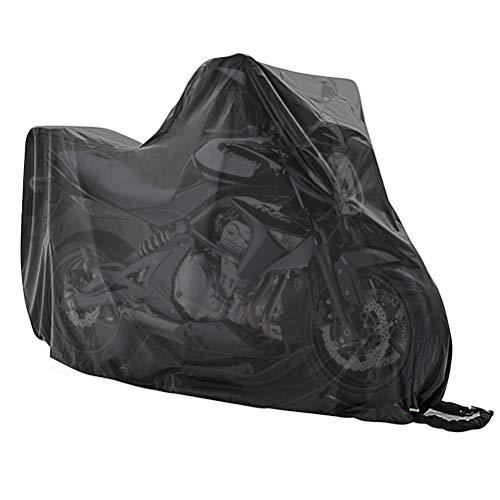 WOWOSS Funda para Moto Impermeable Exterior de Poliéster 190T, Cubierta de Motocicleta Grande Anti-UV Resistente al Lluvia, Viento y Polvo (245 x 105 x 125 cm,Negro)