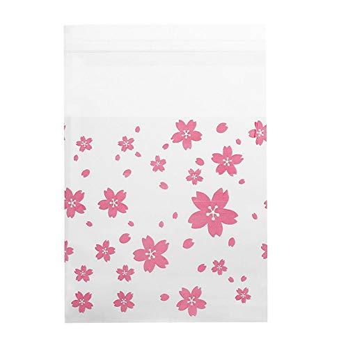 100 stücke Hochzeit Süßigkeitstasche Blume Muster Geburtstag Kunststoff Cookie Keks Süßigkeitstasche(Oriental cherry 7 * 7CM)