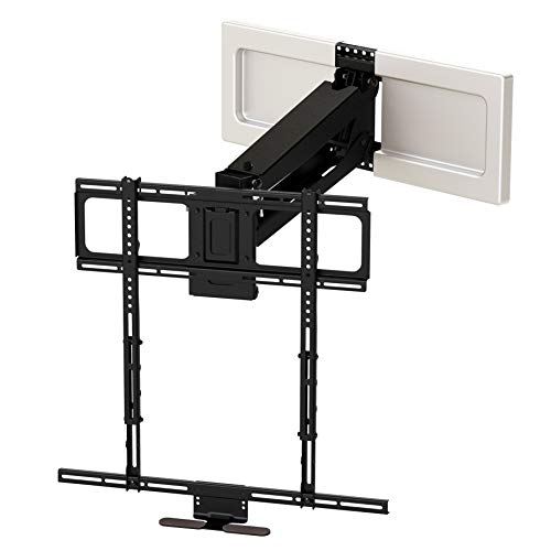 MantelMount MM540 Above Fireplace Pull Down TV Mount - with Patented Heat-Sensor Handles, soundbar Attachment, paintable Covers, auto-straightening, Adjustable Stops, Wire tabs, Swivel & tilt
