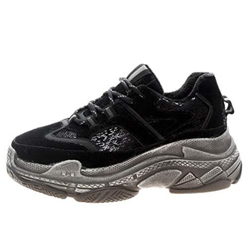 Zapatillas de Plataforma para Mujer Chunky Casual Sports Otoño Invierno Athletic Lace Up Gym Suela Gruesa Zapatillas de Deporte Vintage Zapatos