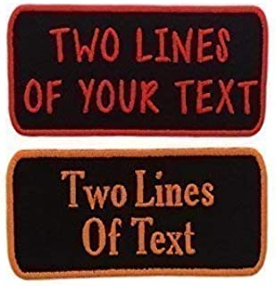 """Name Patch - Custom Embroided Name Tag Iron On Patch(4""""x2"""") 2 Lines Of Text - Choose Your Font And Thread Color!(1 Patch)"""