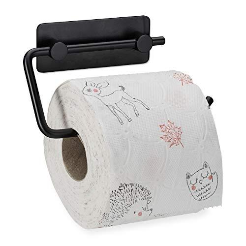 Relaxdays Toilettenpapierhalter ohne Bohren, 430er Edelstahl, Klopapierhalter selbstklebend, Wandmontage, schwarz matt