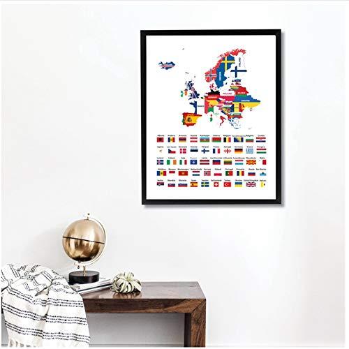 chthsx Alle Europese nationale vlaggen bedrukt muurkunst canvas posters, creatieve kaart van Europa gemengd met landen vlaggen kunst schilderij woningcultuur -40x60cm zonder lijst