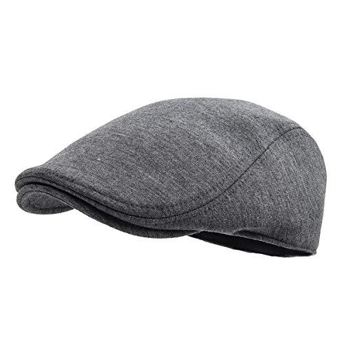 FEINION Men Cotton Newsboy Cap Soft Fit Cabbie Hat (Dark Grey)