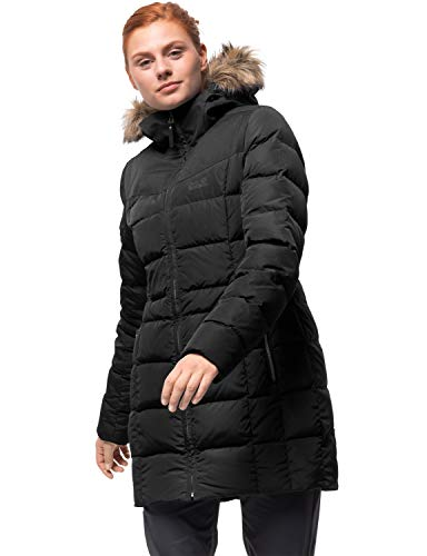Jack Wolfskin Damen Baffin Island Coat Daunenmantel Winddicht Atmungsaktiv Mantel, schwarz, L