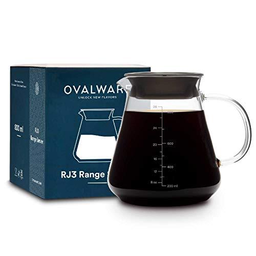 Caraffa da caffè in vetro per versare caffè e tè - Brocca Ovalware da 800 ml/27oz adatta per microonde e resistente al calore in vetro spesso 2,5 mm