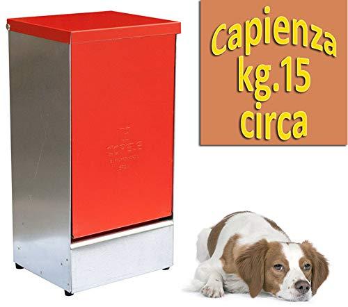 Mangiatoia CAN MASTER per cani a tramoggia con funzione porta bascullante antipioggia e protezione mangime da altri animali oltre a preservare l'aroma del mangime, capienza circa kg.12/15 mangime