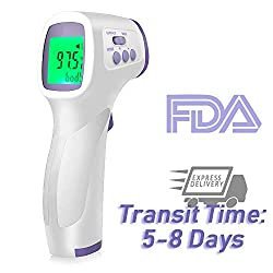 [2020 New]Non-Contact Digital Infrared Thermometer, Forehead Thermometer for Adults, 0.5s Instant-Measure Temperature Gun with Fever Alert & Backlit LCD - for Body, Food, Objects, etc. (1 Pack)