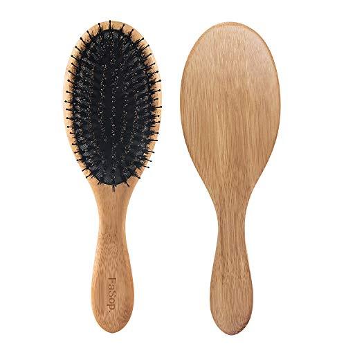 Antistatische Wildschweinborsten Haarbürste, FaSop. Professionelle Bambus Stylingbürste zur Haarentwirrung und Detangling, geeignet für nasse und trockene Haare, für glatte und lockige Haare