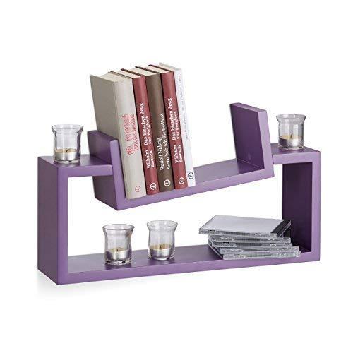 Relaxdays wandrek, set van 2, modern design, wandplank, kruidenrek, plank, leisteenU-vorm, violet