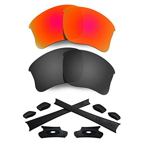 HKUCO For Oakley Flak Jacket XLJ RedBlack Polarized Replacement Lenses And Black Earsocks Rubber Kit