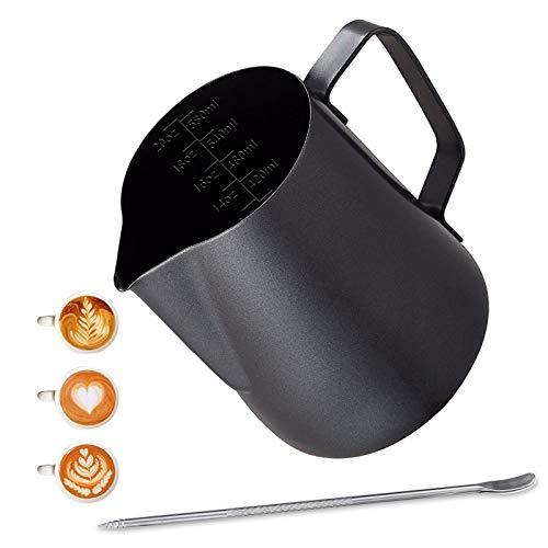 Emsmil 600ml Edelstahl Milchkännchen Kit mit Messung Mark und Latte Art Stift Milchaufschäumer Kännchen Schwarz Milchkanne Barista Sahnekännchen Aufschäumkännchen für Cappuccino Espresso