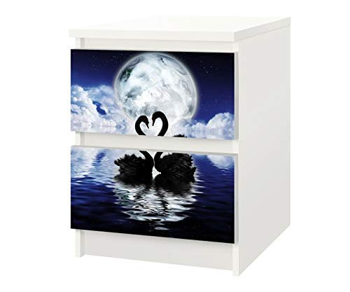Set Möbelaufkleber für Ikea Kommode MALM 2 Fächer/Schubladen schwarze Schwäne Kat3 Schwan Mond See Aufkleber Möbelfolie sticker (Ohne Möbel) Folie 25F508
