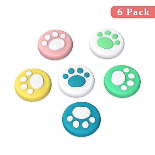 TiMOVO Thumb Grip Cap Compatible with Nintendo Switch & Switch Lite, (6 PCS) Non-Slip Joystick Cap Soft Silicone Cover Cute Cat Claw Cap Fit Joy-Con Controller