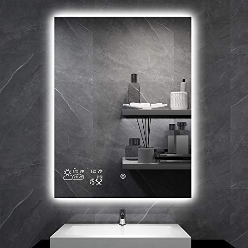 BYECOLD Smart Vanity Bathroom Mirror with Adjustable LED Lights Touch Switch Defogger Weather Time...